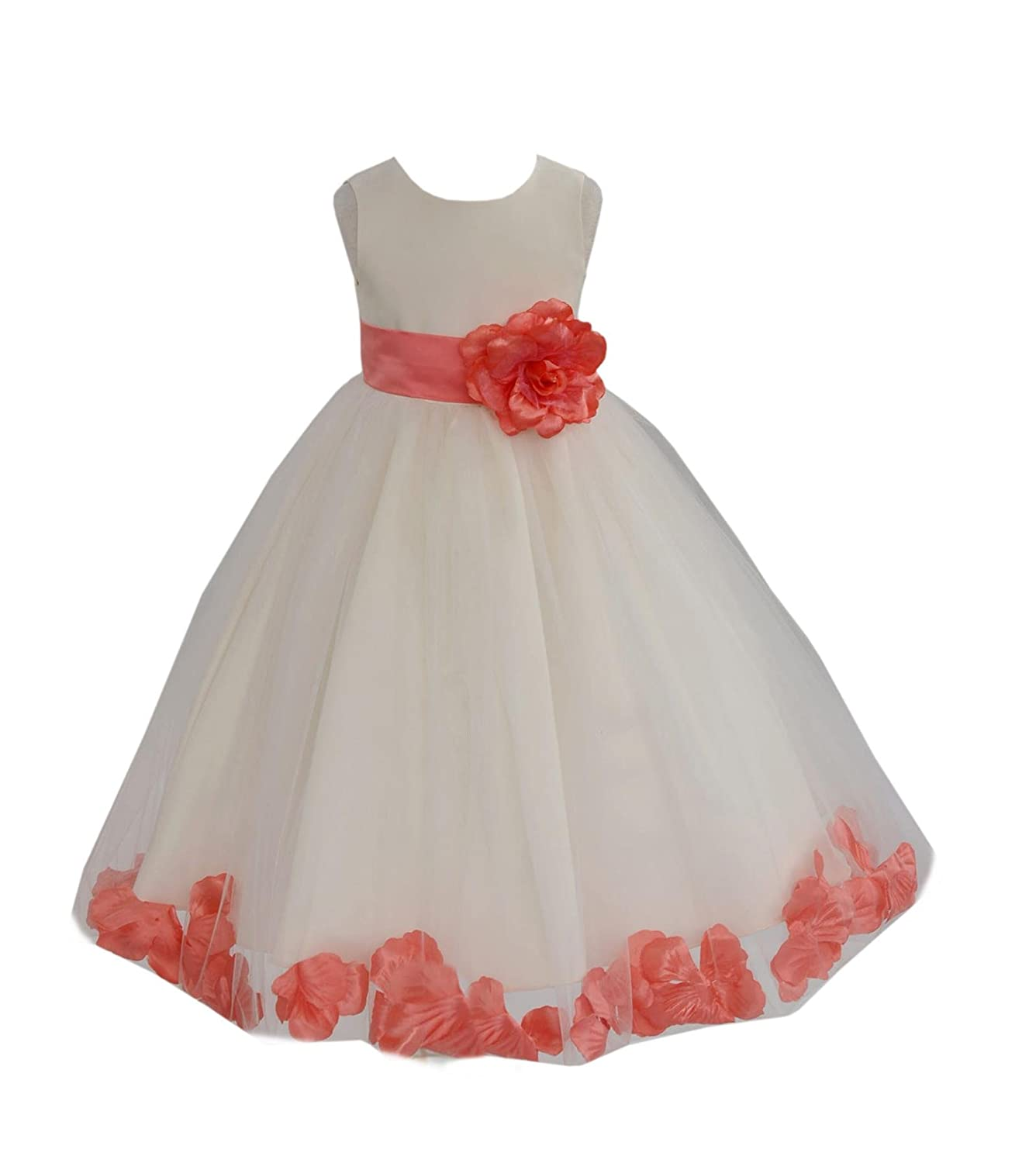 Amazon Wedding Pageant Flower Petals Girl Ivory Dress With Bow