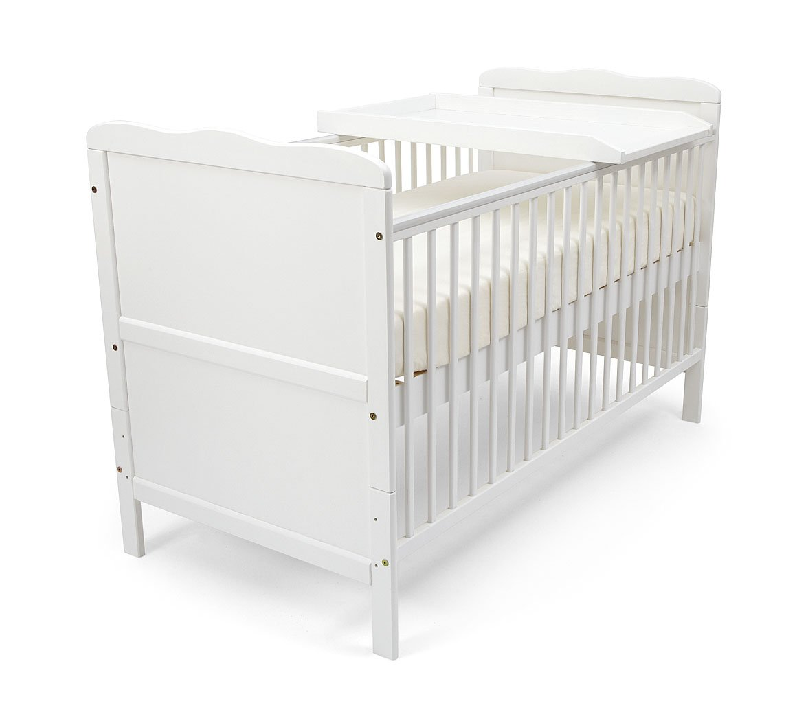 NEW BABY ISABELLA COT BED WHITE & Pocket Sprung Mattress/Quilted Topper. Poppy' s Playground