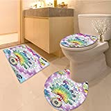 3 Piece Anti-slip mat set with &quotMake Not War'' Quote Children Peace Theme Fabric Set with Hooks Extra L Non Slip Bathroom Rugs