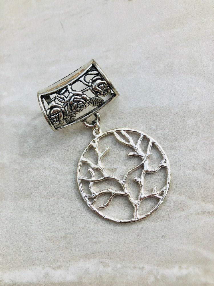 scarf pendant silver scarf bail scarf ring Silver Tree of Life Scarf Bail sc