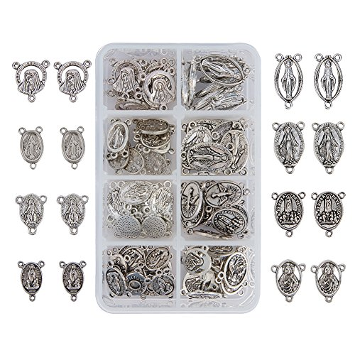 PandaHall Elite About 80 Pcs Tibetan Silver Rosary Miraculous Medal Oval Center Parts Chandelier Virgin Links 8 Styles for Jewelry Making -