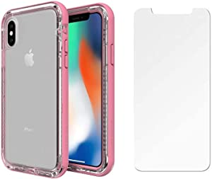 LifeProof Next Series Case for iPhone Xs & iPhone X - Retail Packaging - with Tempered Glass Screen Protector (Cactus Rose)