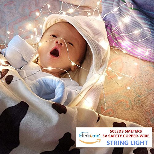 ELINKUME LED Guirlande Lumineuse Puissance de la Batterie Blanc Chaud Fée lampe Propulsé 50LEDs 16,4 pi Fil de Cuivre Twinkle LED Lampe pour la Décoration Bricolage
