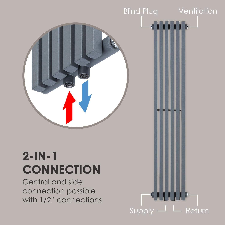 2-in-1: Mittel- oder Seitenanschluss // 1//2 Anschl/üsse 508 W // max 6 Vertikalrippen 10,1 bar grau Besoa Delgado 120x25 Heizk/örper 70/°C // max Slim R/öhrenheizk/örper 4-10 m/² Wandinstallation