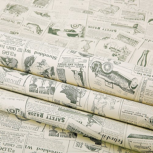 Simplelife4u Vintage Newspaper Decorative Contact Paper