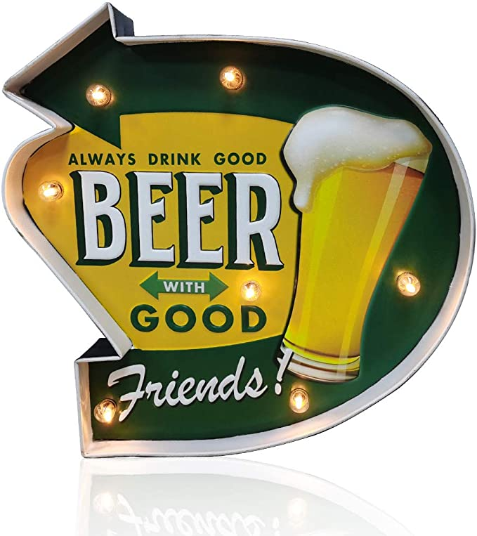 Amazon.com: Arikit Coffee Bar Decor,Metal Wall Retro Tin Vintage Decor Signs,Industrial Style Light Up Sign,for Home,Bar,Kitchen or Cafe Wall Decoration–Battery Operated (Beer): Home & Kitchen