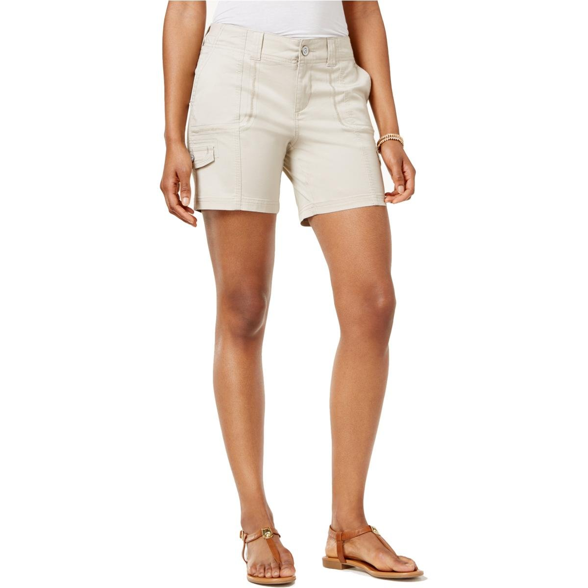 Style & Co.. Womens Petites Mid-Rise Comfort Waist Cargo Shorts Tan 12P by Style & Co. (Image #1)