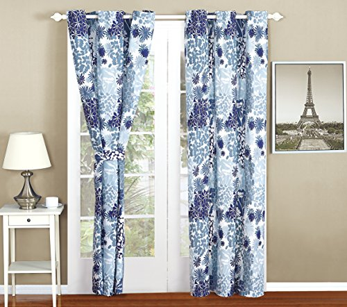 All American Collection New 4pc Printed Curtain Set For Reversible Bedspread Set with Dust Ruffle (4PC CURTAIN ONLY, NAV (Bedspread Sets With Curtains)