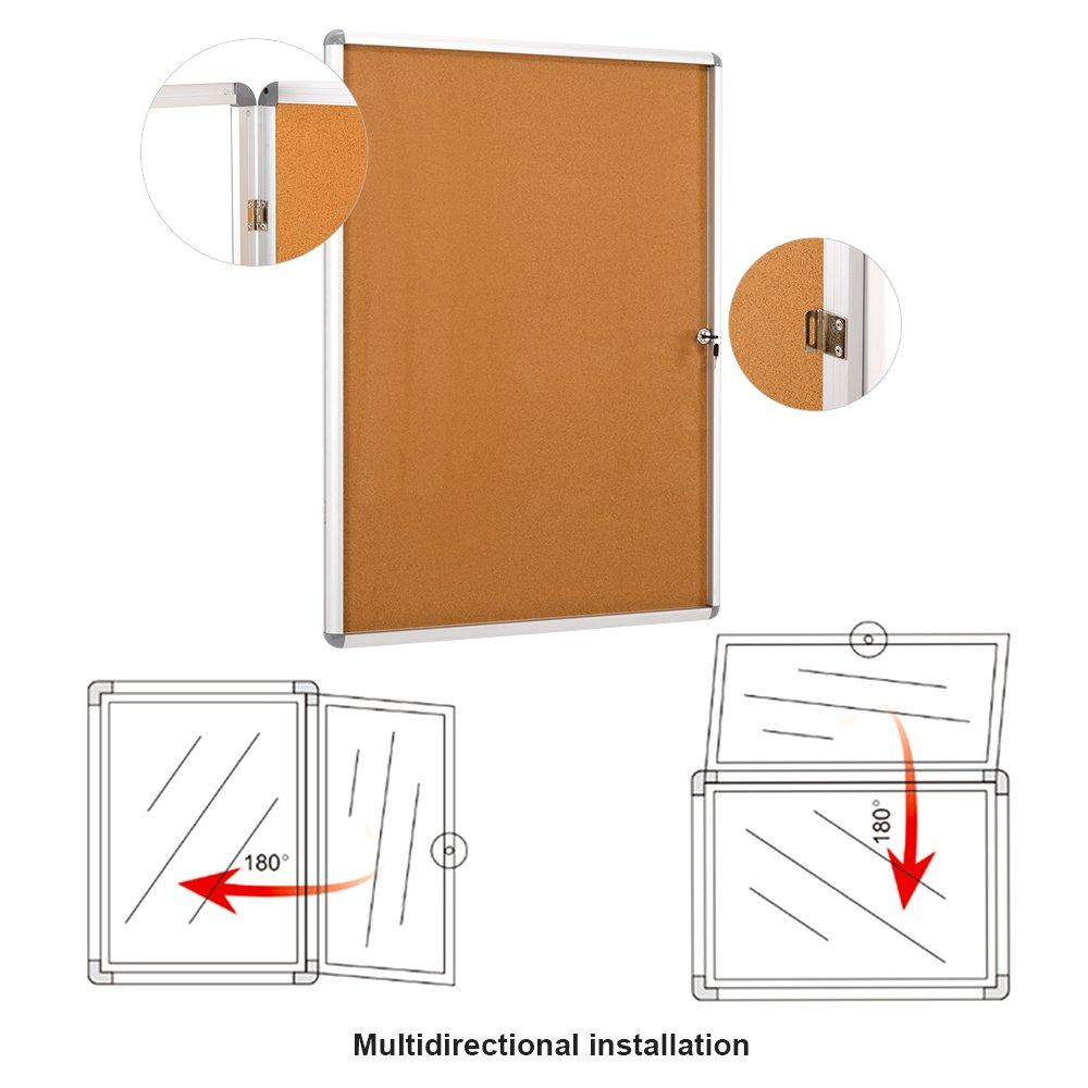 4xA4 SwanSea Lockable Notice Board Bulletin Whiteboard Tamperproof with Mounting Screws 67x50cm