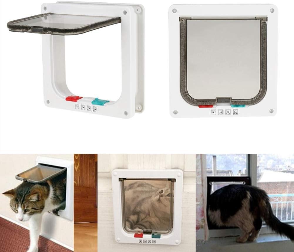 Smandy Puerta para Gato, Bloqueo de 4 vías Puerta abatible para Gatos Puerta abatible para Mascotas Puerta para Perros Entrada y Salida Segura para Mascotas para Perros pequeños y Perros Cachorros