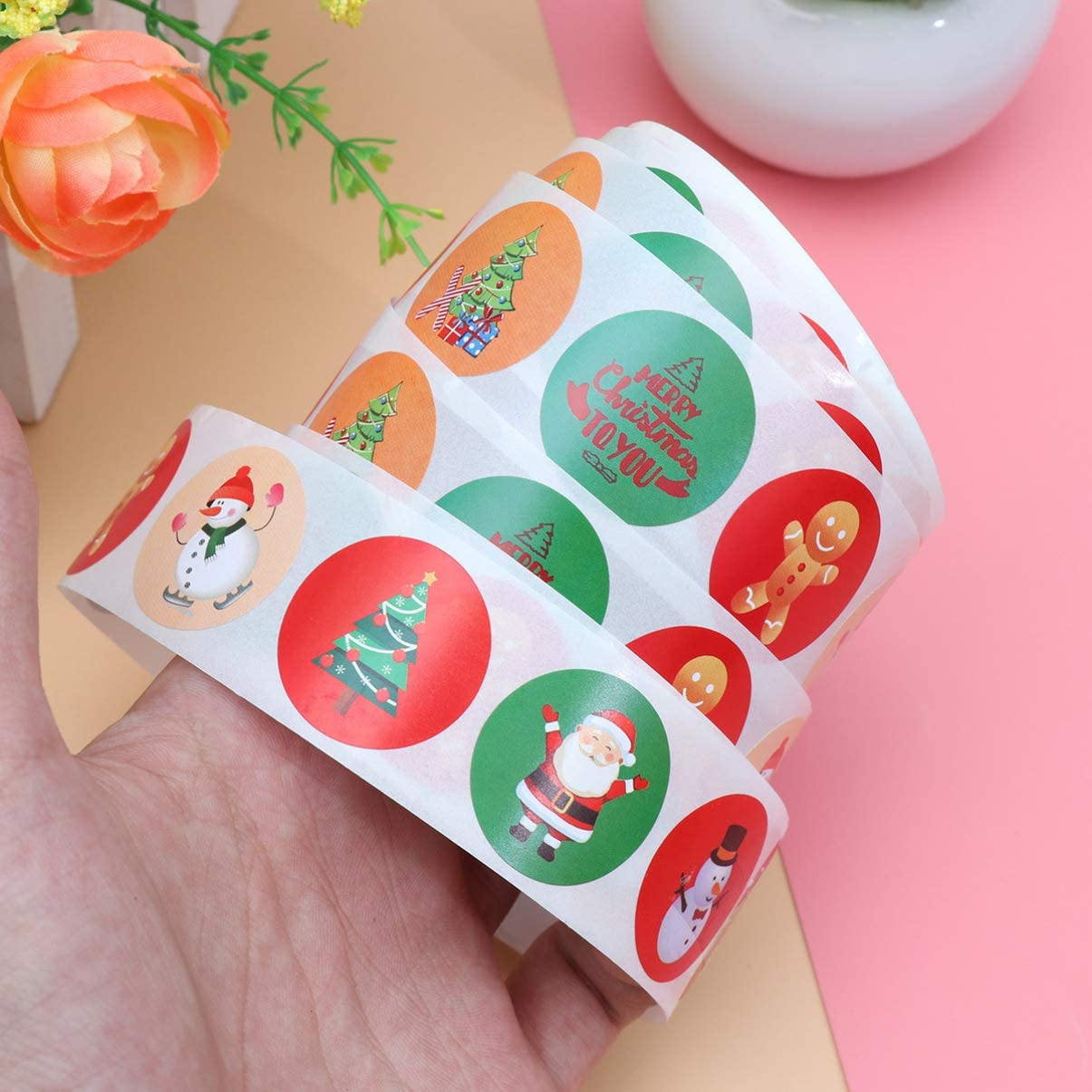 NUOBESTY Christmas Stickers Holiday Stickers Roll for Envelope Seals,Scrapbook,Winter Holiday Party Supplies,Goodie Bags,1 Inch