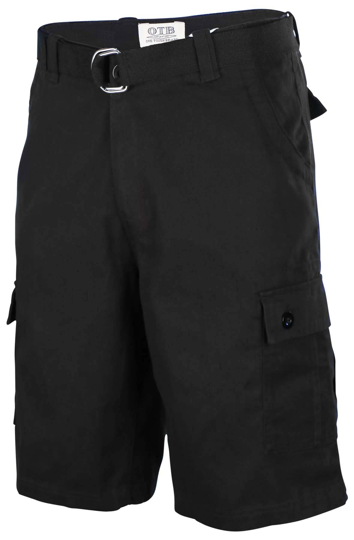One Tough Brand Men's Cotton Twill Belted Cargo Shorts-Black-36