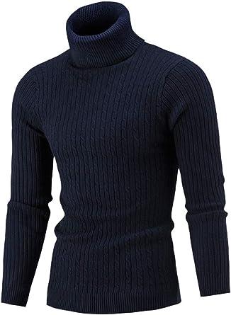 Hombre Suéter Jersey de Cuello Alto Twist de Punto Camisetas de Manga Larga con Cuello Alto: Amazon.es: Ropa y accesorios