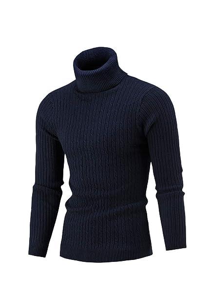 Hombre Suéter Jersey de Cuello Alto Twist de Punto Camisetas de ...