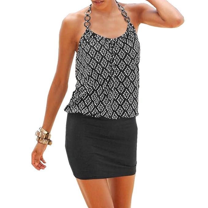 Toamen - Vestido Casual Sin Mangas, con Estampado Retro, Playa, para Mujer,Vestido De Playa: Amazon.es: Ropa y accesorios