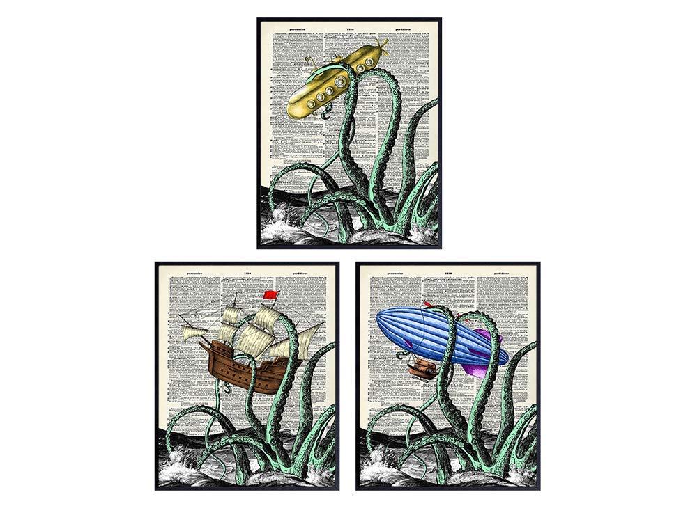 Cute Octopus Decor Set - Nautical Bathroom Decor - Beach House Wall Art - Ocean Wall Decor - Vintage Steampunk Dictionary Poster Print - Shabby Chic Decoration or Gift for Kraken Fans - 8x10 UNFRAMED