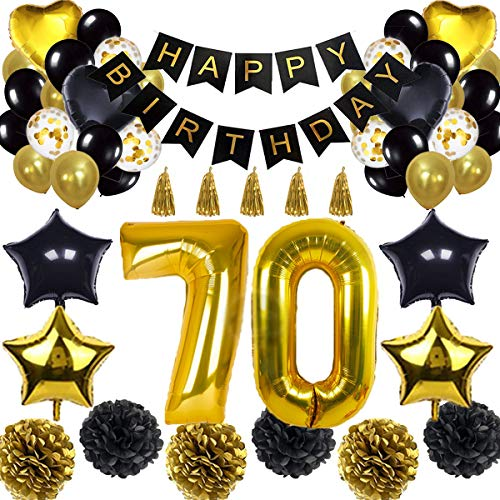 70th Birthday Decorations Balloon Banner - Happy Birthday Banner, 70th Gold Number Balloons, Black and Gold, Number 70 Birthday Balloons, 70 Years Old Birthday Decoration Supplies