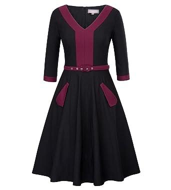 2018 Vintage 50s Rockabillyes Sexy Patchwork 3/4 Sleeve V Neck Dress Vestidos,2