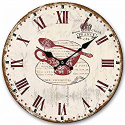 Shabby Chic Clock, Eruner Wooden Wall Clock for New Kitchen Old Fashioned Living Room Lounge Silent Clock Retro Roman Numerals Flower Pattern, 12-inch