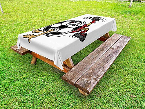 Lohebhuic Sports Outdoor Tablecloth Soccer Football Player Cartoon Mascot Character Kicking Playing Exercising Theme Decorative Washable Picnic Table Cloth,59.67