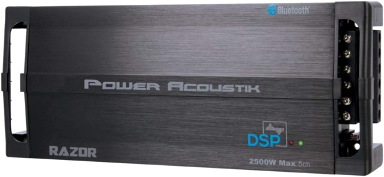 Power Acoustik RZ5‐2500DSP Razor Series 2,500-Watt Max 5-Channel Class D Amp with DSP and Bluetooth