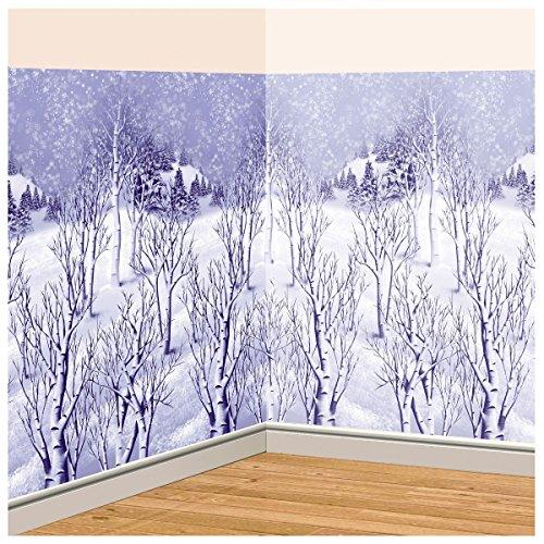 Amscan Winter Wonderland Scene Setters Plastic Room Rolls Wall Decoration, 1 Rolls, 4 x 40 Feet