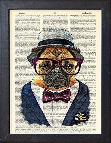 Dog poster, pug in suit, pet portrait art print, home decor, illustration (Pet Art Print)