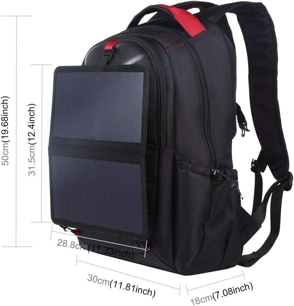 USB Output: 5V 2.1A Max AFANG Laptop Bag 14W Foldable Removable Solar Power Outdoor Portable Dual Shoulders Laptop Backpackage Color : Black Black
