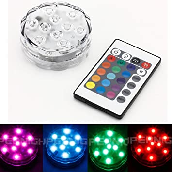 BINZET IR Remote Controlled RGB Submersible LED Lights AA Battery Operated  LED Accent Lights for Lighting