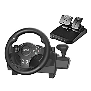 PC Gaming racing wheel 270 degree driving force vibration for Nintendo Switch /PS3 / PC/Android with pedals accelerator brake ( Black color)
