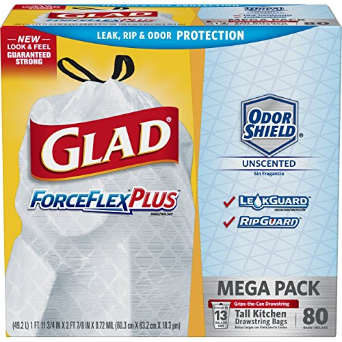 Bags Forceflex Trash Glad (Glad ForceFlexPlus Tall Kitchen Drawstring Trash Bags, Unscented, 80 ct)