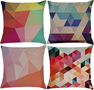 EZVING 4 Pack Colorful Geometry Style Throw Pillow Covers Cases Square Decorative Cushion Covers Pillowcase Cushion Case for Sofa,Couch 18x18 Inches (Set of 4)