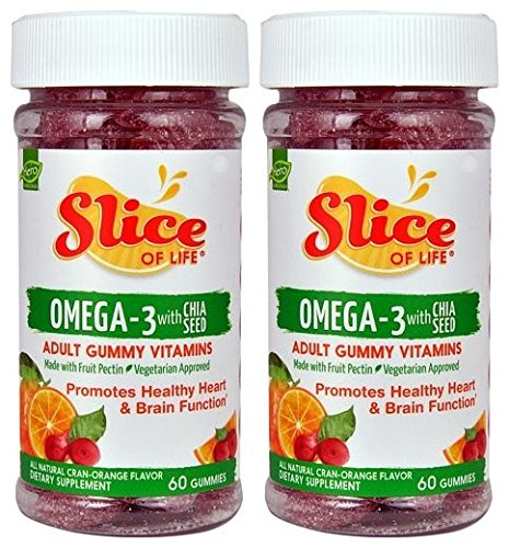 Slice of Life Organics Omega-3 with Chia Seed Gummy Vitamin for Adults (Pack of 2) With Cane Sugar, Carrot Juice, Chia Seed Oil and Omega Acids, 60 Gummies Each -