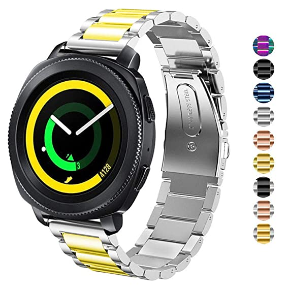 DELELE for Samsung Gear Sport/Galaxy Watch 42mm Band, 20mm Solid Stainless Steel Metal Business Replacement Strap for Samsung Gear Sport / S2 ...