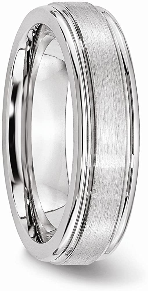 Cobalt Satin and Polished Ridged Edge 6mm Wedding Band Fine Jewelry Ideal Gifts For Women