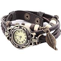 naisicatar reloj a cuarzo analógico reloj décontractée reloj de pulsera para hombre Mujer Reloj Comercial # Vintage reloj trenzada con colgante hoja # Café X 1