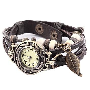 91a2c52753 ojofischer Frauen-Uhr-Retro-Leder-Armband-Uhr-Baum-Blatt-Geflochtene ...