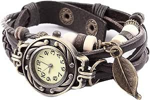 Naisicatar - Reloj de pulsera para hombre y mujer, analógico, de cuarzo, analógico, estilo vintage, con colgante de hoja, color marrón