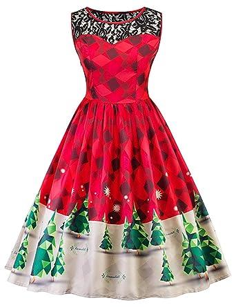 0620b313a0d Christmas Dresses Women A-Line Lace Vintage Cocktail Party Dress Santa  Claus Xmas Snow Print