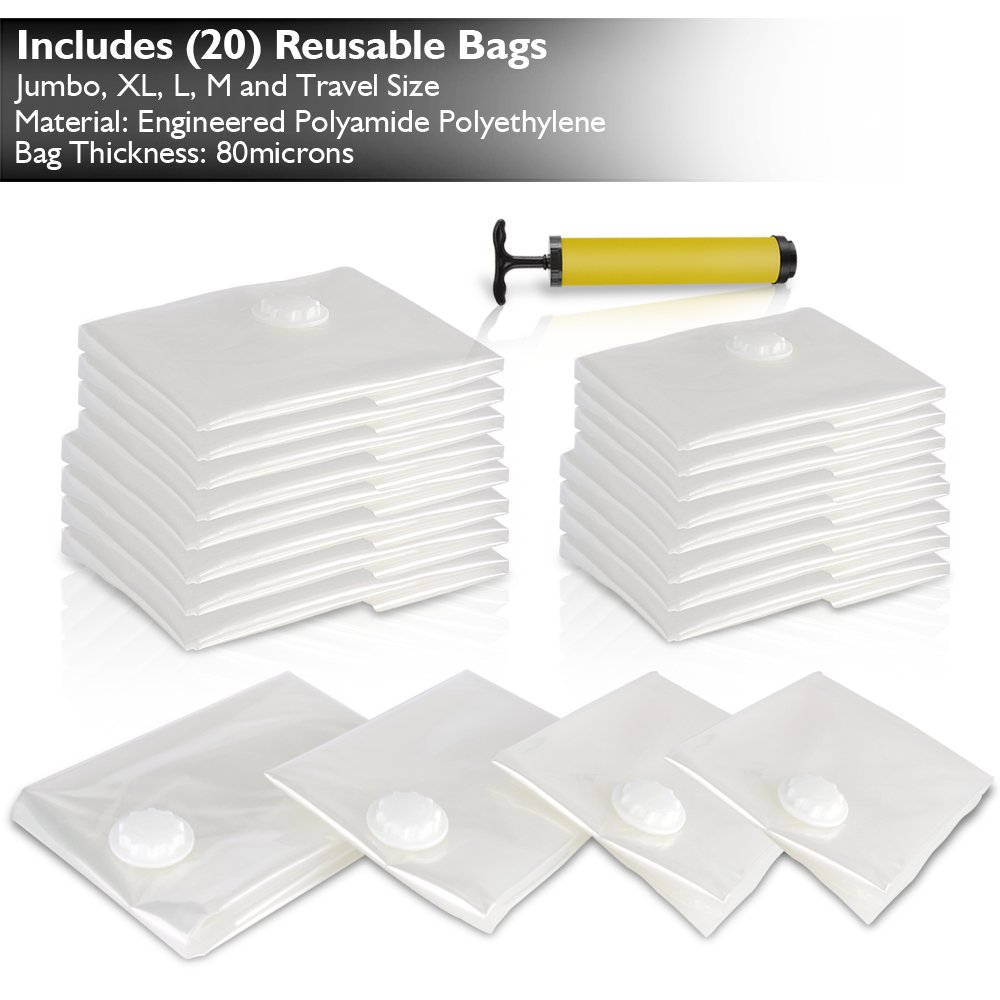 Premium Vacuum Storage Bags Bundle with Hand Vacuum Pump | Easy to Use, Reusable, 4 Sizes, Zippered Plastic Space Saver Bags for Storage, Travel & Closet Organization (20 PC Value Pack)