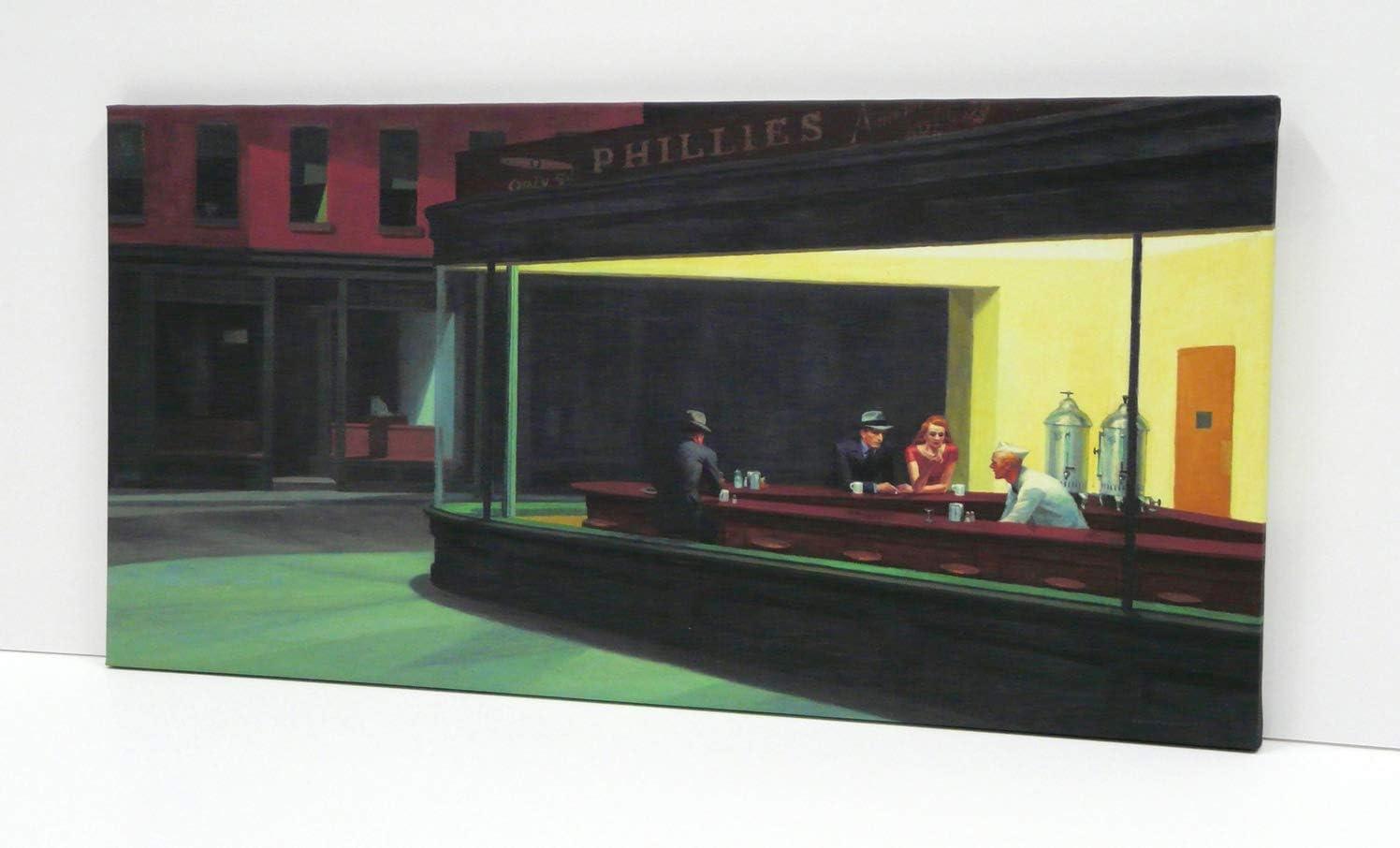Lienzo Cuadro Nighthawks, Edward Hopper 1942, (P2678) Impreso en Canvas de 320 gr de Algodón- Acabado Mate- Bastidor de Madera de Pino de 2cm de Grosor-Muy Ligero (40x80cm)