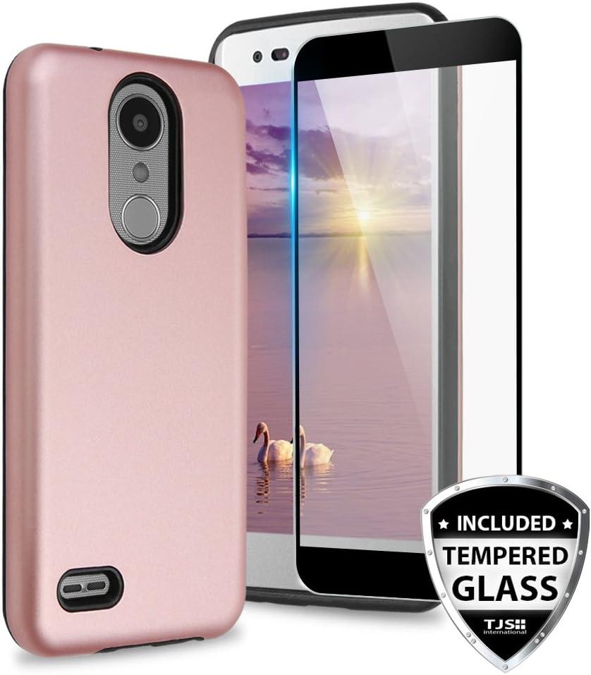 TJS Case for LG Aristo 2/Aristo 2 Plus/Aristo 3/Aristo 3 Plus/Tribute Dynasty/Tribute Empire/Fortune 2/Rebel 3 LTE [Full Coverage Tempered Glass Screen Protector] Hybrid Armor Phone Cover (Rose Gold)