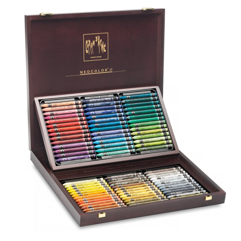 Caran d'Ache Neocolor II Water-Soluble Pastels, Wooden Gift Box - 84 Colors by Caran d'Ache