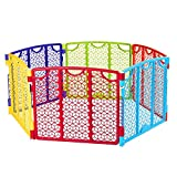 Baby Outdoor Play Yard Center Safety Gate Playpen Kids Home Indoor Quick and Easy Set Up and Fold Safe and Enclosed Play Activity 6 Multicolor Panel UV Weather Resistant & eBook by BADa shop