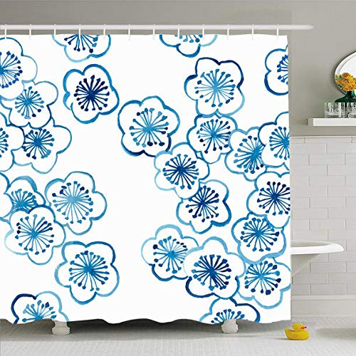 Cherry Blossom Floral Porcelain - Ahawoso Shower Curtain 72x72 Inches White Blue Pattern Cherry Blossom Ceramics Hand Asia Nature Porcelain Floral Water Design Old Waterproof Polyester Fabric Set with Hooks