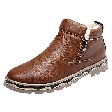 ❤ Calzado Casual de Hombre, Botas para Hombre, Botas de Nieve para Estudiantes Botas de Piel de Invierno de Felpa Absolute: Amazon.es: Ropa y accesorios