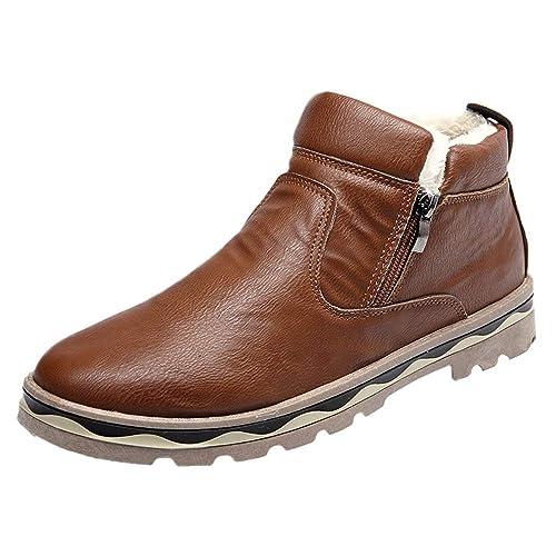 Zapatos Hombre Black Friday Casuales Invierno Botas Casuales de Martin para Hombre Botas de Nieve de Estudiante Botas de Piel de Invierno de Felpa: ...