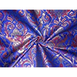 "SILK BROCADE FABRIC BLUE,RED & METALLIC GOLD COLOR 44"" - Hobbies,Home decor,Sewing,Fashion,Doll Dress,Furnishing,Interior."