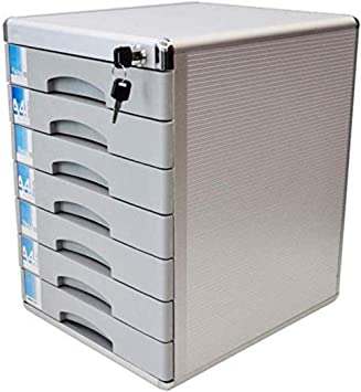 File Cabinets Silver Desktop Drawer Type Stationery Cabinet 7-Layer A4 Plastic Data Cabinet Storage Box Storage Archive with Lock Home Office Furniture