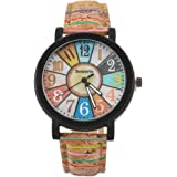 Funique Colorful Fan Shape Quartz Watch Sports Casual Watch with PU Leather Strap